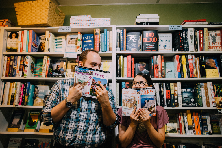 bookstore engagement session haddonfield nj